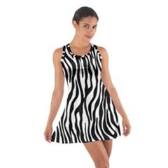 Zebra Stripes Pattern Traditional Colors Black White Cotton Racerback Dress by EDDArt