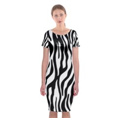Zebra Stripes Pattern Traditional Colors Black White Classic Short Sleeve Midi Dress by EDDArt