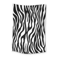 Zebra Stripes Pattern Traditional Colors Black White Small Tapestry by EDDArt