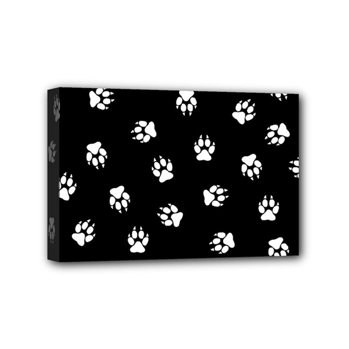Footprints Dog White Black Mini Canvas 6  x 4
