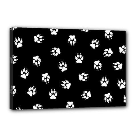 Footprints Dog White Black Canvas 18  X 12  by EDDArt