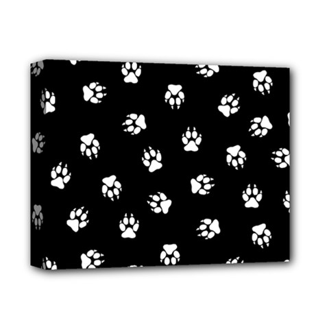 Footprints Dog White Black Deluxe Canvas 14  X 11  by EDDArt
