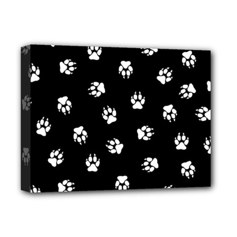 Footprints Dog White Black Deluxe Canvas 16  X 12   by EDDArt