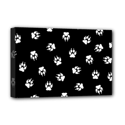 Footprints Dog White Black Deluxe Canvas 18  X 12   by EDDArt