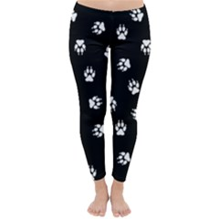 Footprints Dog White Black Classic Winter Leggings by EDDArt
