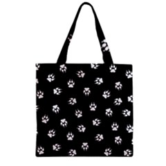 Footprints Dog White Black Zipper Grocery Tote Bag by EDDArt