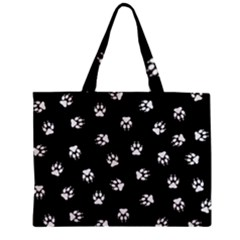 Footprints Dog White Black Zipper Mini Tote Bag by EDDArt