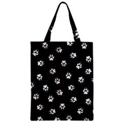 Footprints Dog White Black Zipper Classic Tote Bag by EDDArt