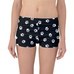 Footprints Dog White Black Reversible Bikini Bottoms by EDDArt