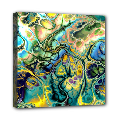 Flower Power Fractal Batik Teal Yellow Blue Salmon Mini Canvas 8  X 8  by EDDArt