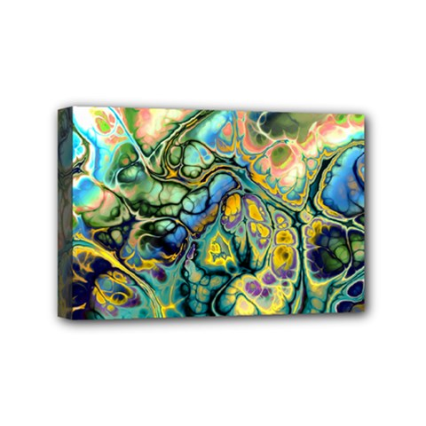 Flower Power Fractal Batik Teal Yellow Blue Salmon Mini Canvas 6  X 4  by EDDArt