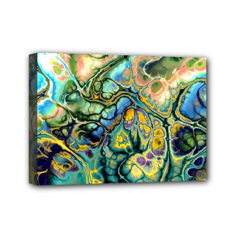 Flower Power Fractal Batik Teal Yellow Blue Salmon Mini Canvas 7  X 5  by EDDArt
