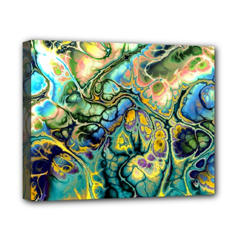 Flower Power Fractal Batik Teal Yellow Blue Salmon Canvas 10  X 8  by EDDArt