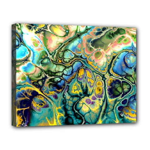 Flower Power Fractal Batik Teal Yellow Blue Salmon Canvas 14  X 11  by EDDArt