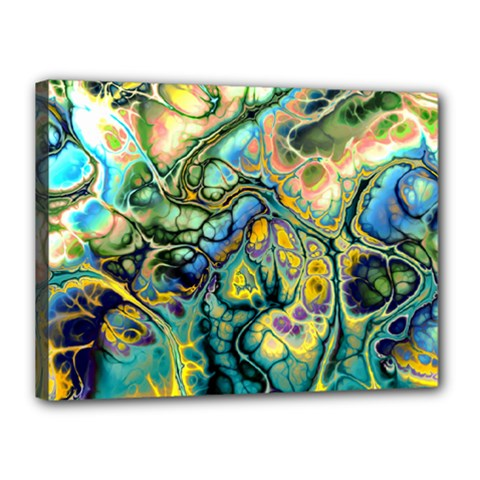 Flower Power Fractal Batik Teal Yellow Blue Salmon Canvas 16  X 12  by EDDArt