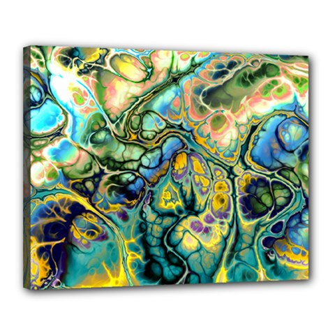 Flower Power Fractal Batik Teal Yellow Blue Salmon Canvas 20  X 16  by EDDArt
