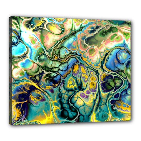 Flower Power Fractal Batik Teal Yellow Blue Salmon Canvas 24  X 20  by EDDArt