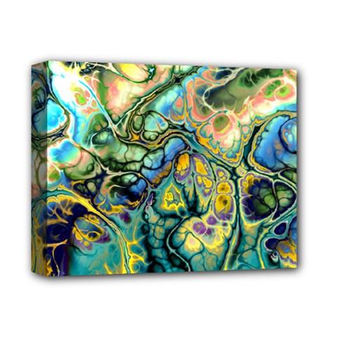 Flower Power Fractal Batik Teal Yellow Blue Salmon Deluxe Canvas 14  X 11  by EDDArt