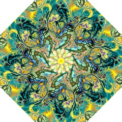 Flower Power Fractal Batik Teal Yellow Blue Salmon Hook Handle Umbrellas (large) by EDDArt