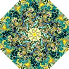 Flower Power Fractal Batik Teal Yellow Blue Salmon Hook Handle Umbrellas (small) by EDDArt