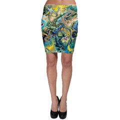 Flower Power Fractal Batik Teal Yellow Blue Salmon Bodycon Skirt by EDDArt