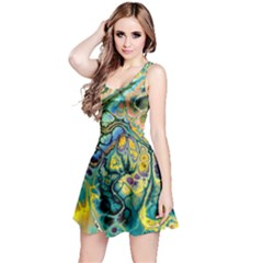 Flower Power Fractal Batik Teal Yellow Blue Salmon Reversible Sleeveless Dress by EDDArt