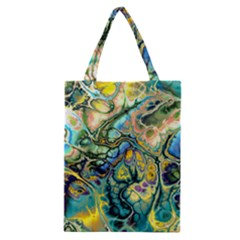 Flower Power Fractal Batik Teal Yellow Blue Salmon Classic Tote Bag by EDDArt
