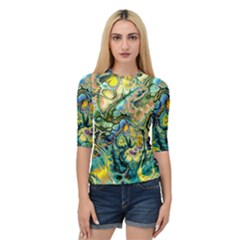 Flower Power Fractal Batik Teal Yellow Blue Salmon Quarter Sleeve Tee by EDDArt