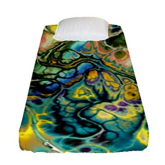 Flower Power Fractal Batik Teal Yellow Blue Salmon Fitted Sheet (single Size) by EDDArt