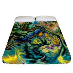 Flower Power Fractal Batik Teal Yellow Blue Salmon Fitted Sheet (queen Size) by EDDArt