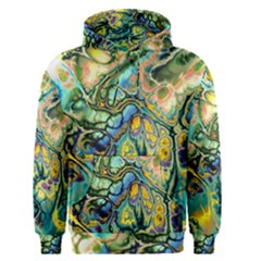Flower Power Fractal Batik Teal Yellow Blue Salmon Men s Pullover Hoodie by EDDArt