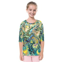 Flower Power Fractal Batik Teal Yellow Blue Salmon Kids  Quarter Sleeve Raglan Tee by EDDArt