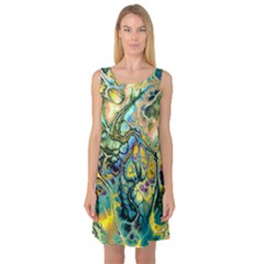 Flower Power Fractal Batik Teal Yellow Blue Salmon Sleeveless Satin Nightdress by EDDArt
