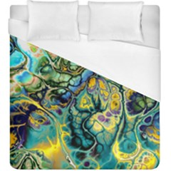 Flower Power Fractal Batik Teal Yellow Blue Salmon Duvet Cover (king Size) by EDDArt