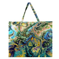 Flower Power Fractal Batik Teal Yellow Blue Salmon Zipper Large Tote Bag by EDDArt