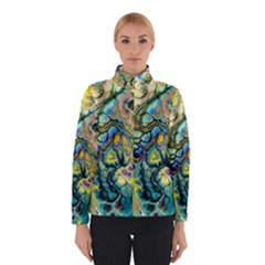 Flower Power Fractal Batik Teal Yellow Blue Salmon Winterwear by EDDArt