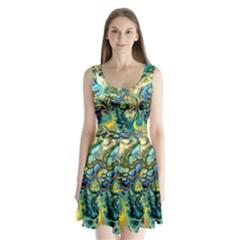 Flower Power Fractal Batik Teal Yellow Blue Salmon Split Back Mini Dress  by EDDArt