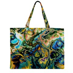 Flower Power Fractal Batik Teal Yellow Blue Salmon Medium Zipper Tote Bag by EDDArt