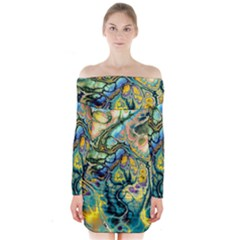 Flower Power Fractal Batik Teal Yellow Blue Salmon Long Sleeve Off Shoulder Dress by EDDArt