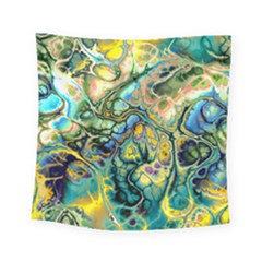 Flower Power Fractal Batik Teal Yellow Blue Salmon Square Tapestry (small) by EDDArt