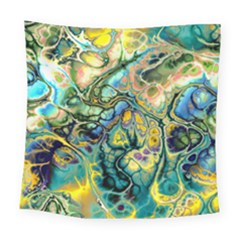 Flower Power Fractal Batik Teal Yellow Blue Salmon Square Tapestry (large) by EDDArt