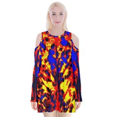 Fire Tree Pop Art Velvet Long Sleeve Shoulder Cutout Dress by Costasonlineshop