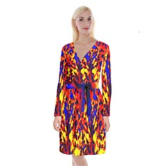 Fire Tree Pop Art Long Sleeve Velvet Front Wrap Dress by Costasonlineshop