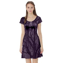 Purple Branches Short Sleeve Skater Dress by ChihuahuaShower
