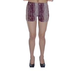 Wrinkly Batik Pattern Brown Beige Skinny Shorts by EDDArt