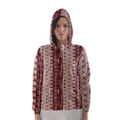 Wrinkly Batik Pattern Brown Beige Hooded Wind Breaker (women) by EDDArt