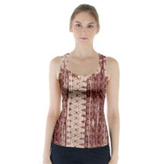 Wrinkly Batik Pattern Brown Beige Racer Back Sports Top by EDDArt