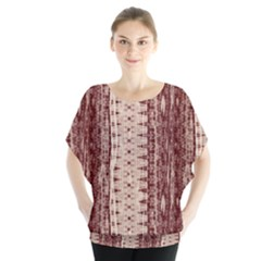 Wrinkly Batik Pattern Brown Beige Blouse by EDDArt
