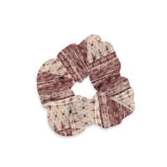 Wrinkly Batik Pattern Brown Beige Velvet Scrunchie by EDDArt