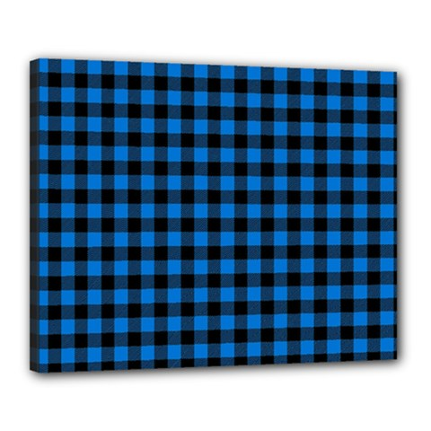 Lumberjack Fabric Pattern Blue Black Canvas 20  X 16  by EDDArt